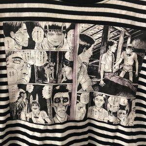 Tops - Vintage striped horror manga tee